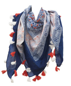 Cotton Printed Scarves With Tassels Manufacturers